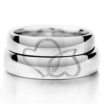 Matching His and Her Hearts Wedding Bands for Two Personalized Couples Gifts | His Her Necklaces and Bracelets | Engraved Wedding Rings | Couples Clothing