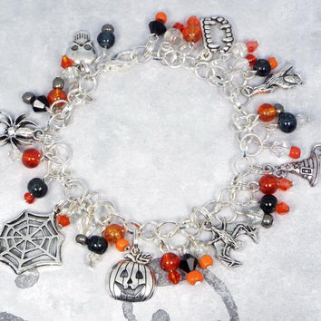 Halloween Jewelry Charm Bracelet  - Orange & Black Glass Beads, Skull, Spider, Web, Jack O Lantern Pumpkin, Bat, Witch's Hat, Wolf and Vampire Fang Charms