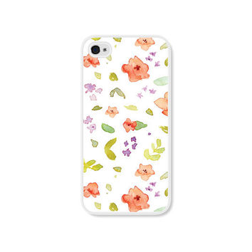 Peach Floral iPhone Case - iPhone 4 Case - iPhone 4 Cover - iPhone 4 Skin - Coral Pink Pastel Flowers iPhone 4s Case