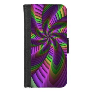 Neon Colors Flash Crazy Colorful Fractal Pattern iPhone 8/7 Wallet Case
