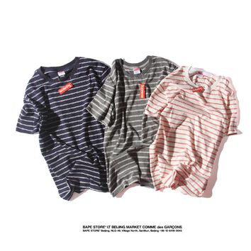 2018 Supreme Campus wind striped t-shirt cotton short-sleeved S--XL