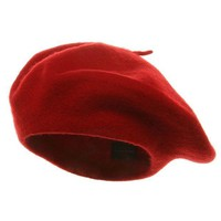 DCK4S2 Classic French Artist 100% Wool Beret Hat Red