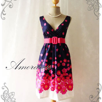 Blooming - Navy with Exotic Pink Floral Dress Tea Dress High Waisted Vintage Inspired Dress Party Cocktail Garden Dress Tea Dresses -S-M-