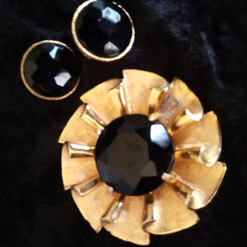 Vintage BSK Brooch Earring Set, Designer Signed Black & Gold Statement Jewelry, Mid Century 1950's 1960's Collectible Accessories