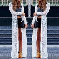 Boho Beach Sheer Lace Floral Crochet Long Cardigan
