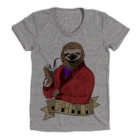 Chill Sloth Womens Athletic Grey T Shirt - Graphic Tee - Clothing - Gift
