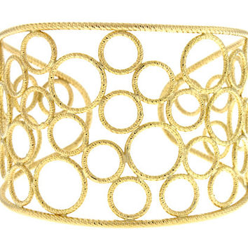 18 Karat Yellow Gold Textured Wire Circle Cuff Bracelet