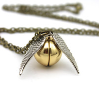 Flying Snitch Locket, Shiny Gold with Silver Wings
