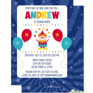 "Circus Birthday Invitations - Personalized 5 x 7"" - Double-Sided and Printed Birthday Invitations - Circus Party Invites"