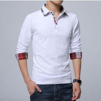 high quality brand casual men's cotton polo shirt spring Men solid long sleeve Polo shirt camisa polo masculino