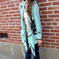 Pueblo Fringe Cardi - Mint | The Rage