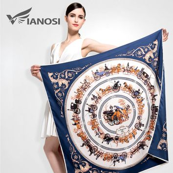 [VIANOSI] Newest Bandana 100*100 Silk Scarf Women High Quality Horse Print Soft shawls and scarves Brand Package VA035