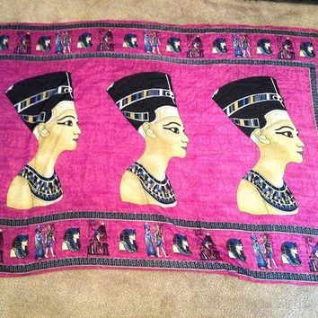 DCCKWA2 Huge XL Egyptian Handmade Queen Nefertiti Cotton woman Purple scarf from Egypt...
