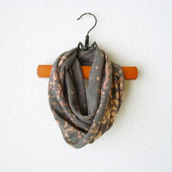 Grey Infinity Scarf Recycled T Shirt Hand Bleached Womens Accessories