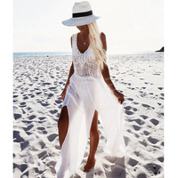 Crochet Chiffon patchwork beach dress tassels saida de praia crochet beach covers up fringe beachwear plait coverup