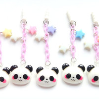 Pastel stars Kawaii sleepy panda dust plug, Kawaii phone charm, cute panda charm, earphone jack plug, Iphone dust plug, cute animal charm