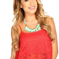 Red Floral Embroidered Overlay Cute Summer Crop Top