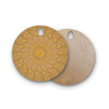 "Patternmuse ""Mandala Spin Latte"" Brown Yellow Round Wooden Cutting Board"