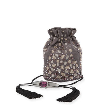 Khirma Arison Swarovski® Crystal-Embellished Sateen Pouch Bag