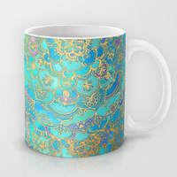 Sapphire & Jade Stained Glass Mandalas Mug by micklyn