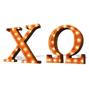 Chi Omega Vintage Marquee Greek Light Up Letters