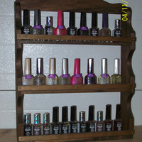 handmade wall spice rack/nail polish/makeup organizer--13 stain options