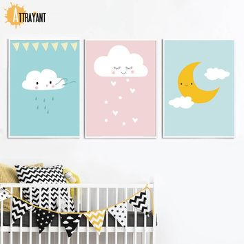 Rain Cloud Moon Wall Art Canvas Painting Nordic Posters And Prints Wall Pictures For Kids Bedroom Baby Boy Girl Room Home Decor