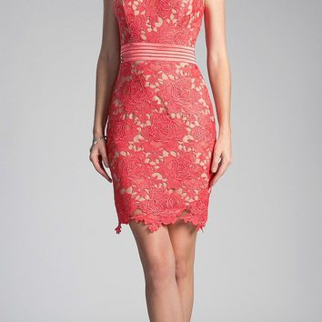 Sleeveless Lace Overlay Orange Cocktail Dress Short