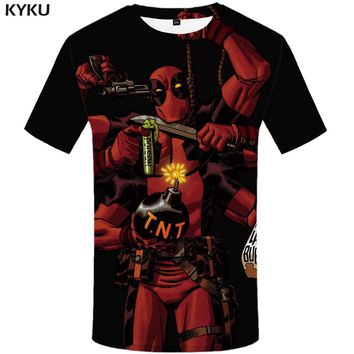 KYKU Deadpool T Shirt Men Red Badass Tshirt Gun War 3d T-shirt Funny T Shirts Anime Clothes Punk Rock Mens Clothing Casual Tops