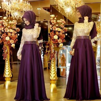 Real Photo Purple Formal Long Sleeve Muslim Evening Dress Hijab Abaya Moroccan Kaftan Bow Beaded Evening Gown Prom Dresses