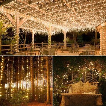 20M 66Ft 200LED Outdoor Solar Powered Copper Wire Light String Fairy Party