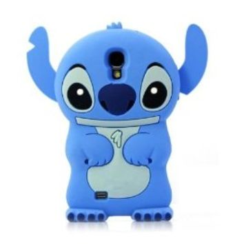 LliVEER Blue Color S4 i9500 Cute 3D Cartoon Soft Silicone Cute Stitch Protector Skin Cover Case for Samsung Galaxy SIV S4 i9500