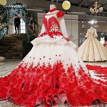 Red Patterns of Lace A-line High Neck Formal Evening Dress