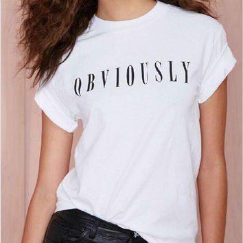 "White ""Obviously"" Letter Print T- Shirt"
