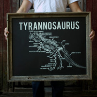 GLOW in the DARK Tyrannosaurus Diagram - Dinosaur Poster - 22x28 inch print