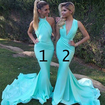 Sexy V-Neck Mermaid Prom Party Dresses 2016 Satin Long Bridesmaid Dresses Custom Made robe de soiree ZZ1347