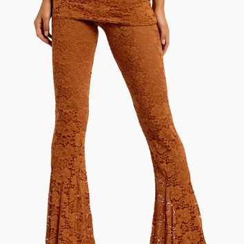 Blow Your Horn Lace Flare Pant - Brown Sugar