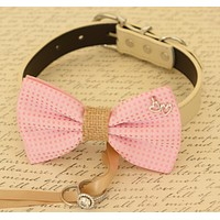 Pink Bow Tie Dog ring bearer attached to collar, Pet Wedding, Charm