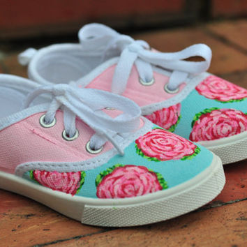 Lilly Pulitzer Inspired Handpainted Children's Sneakers: First Impression Roses