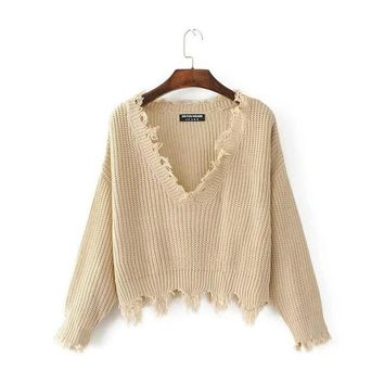 Deep V-neck Tassel Ripped Sweaters