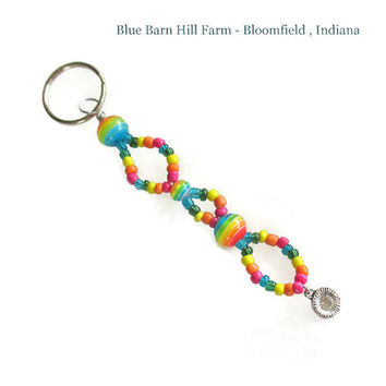 Multicolored Rainbow Keychain with a Flower Charm - Handbeaded in Rainbow Colors - Item #20150010