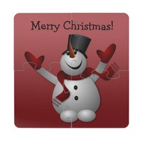 Happy Christmas Snowman on Red Coaster Puzzle Coaster