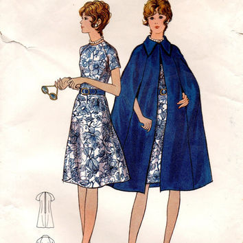 Retro Vintage Cape Coat Poncho A-line Semi Fitted Cocktail Party Dress Butterick 6091 Sewing Pattern Plus Size Bust 41