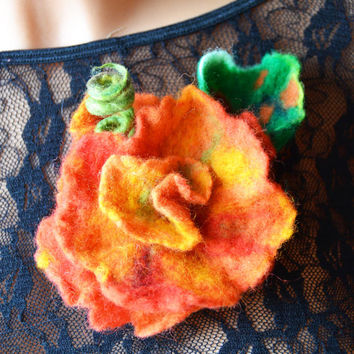 Felted brooch, Flower, Wool, Accessories, Felt Jewelry, floral, blooming, spring, Handmade, unique brooch, gift for her, orange, yellow, red