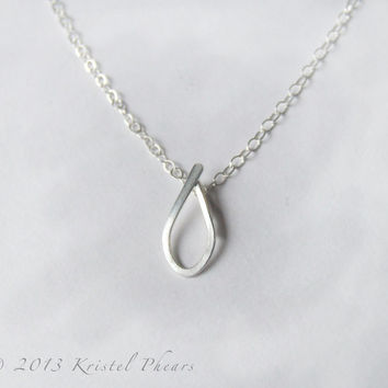 Tear drop Necklace - Silver small teardrop pendant sterling bail girlfriend bridesmaid birthday personalized simple minimal gift