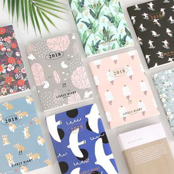 Lovely floral design 2018 agenda monthly weekly planner 176P Free Shipping Korean fashion journal with PVC cover girls gift