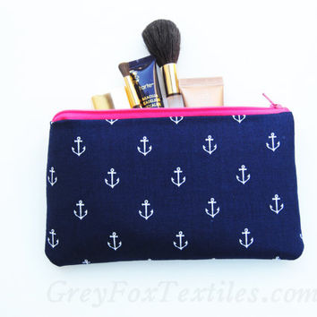 Navy blue and hot pink anchor clutch, pencil case, zipper pouch, makeup brush bag, wallet, coin purse