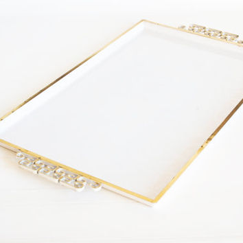 Vintage Gold and White Hollywood Regency Metal Serving Tray, Hand Made Moire Glaze Kyes Tea Tray, Mid Century Barware, Pasadena CA