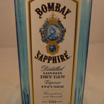 20 Ounce Pure Soy Candle in Reclaimed Bombay Sapphie Gin Liquor Bottle - Your Choice of Scent