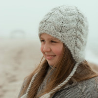 Knitted winter lopi hat with earflaps in pale gray by SayWool